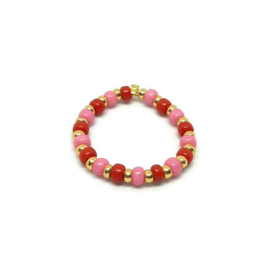 Bead ring ''two colors'' red & pink