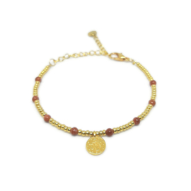 Little beads armbandje ''coins '& gold sandstone'' goud
