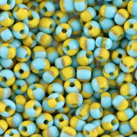 Rocailles 3mm, stripes light blue-yellow