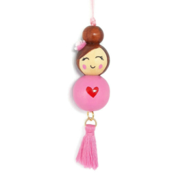 Gelukspoppetje ''heart'' pink