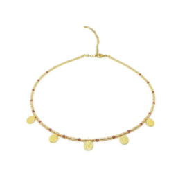 Bohemian beads coin necklace ''gold sandstone'' gold