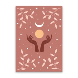 Kaart ''hands & moon''