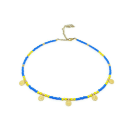 Happy bohemian necklace ''blue & yellow''