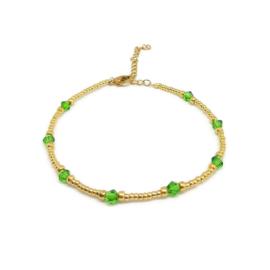 Kralen enkelbandje ''green stones'' gold, handmade