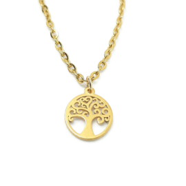 Bedelketting ''tree'' stainless steel, gold