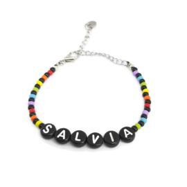 Little beads letter armbandje ''salvia'' handmade