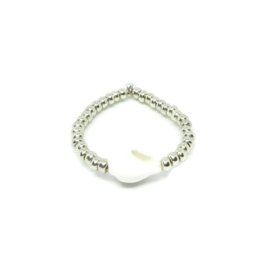 Bead ring ''shell'' silver