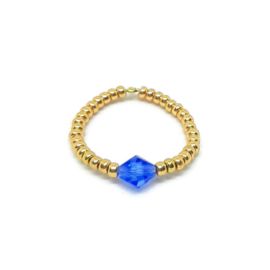 Bead ring ''one stone'' blue &  gold