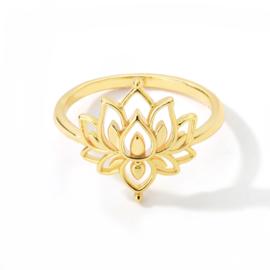 Ring bohemian stainless steel ''lotus'' gold