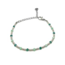 Little beads armbandje ''coins '& stones'' zilver