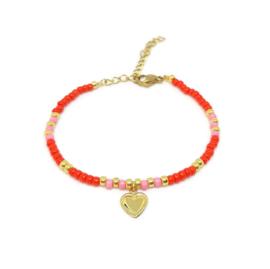 Armbandje ''valentine'' red & pink