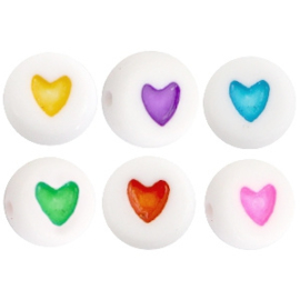 Acryl kralen ''heart'' multicolor 10 stuks