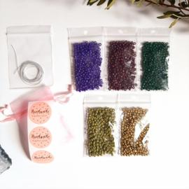 DIY-pakket armbandjes maken ''3mm kralen'' dark colors