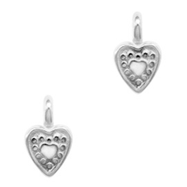 Mini bedel ''heart'' zilver 1 stuk