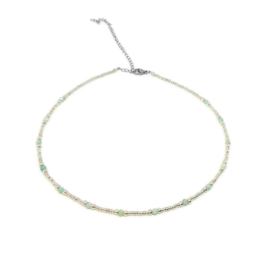 Bohemian beads necklace ''amazonite'' silver