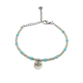 Little beads armbandje ''coins '& turkoois'' zilver