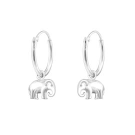 Ring oorbellen met bedel ''little elephant'' 925 silver