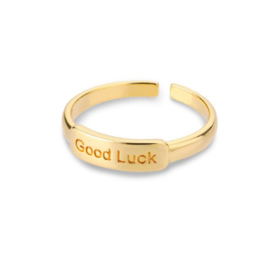 Ring stainless steel ''good luck'' gold