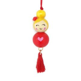 Gelukspoppetje ''heart'' red