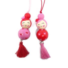 Gelukspoppetjes ''sisters'' pink & red