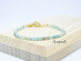 Edelsteen armband ''amazonite'' 925 silver or gold plated
