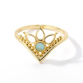 Ring bohemian stainless steel ''victoria flower'' gold