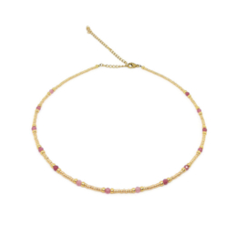 Bohemian beads necklace ''pink amethist'' gold