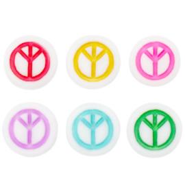 Acryl kralen ''peace'' multicolor 10 stuks