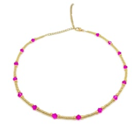 Little beads ketting ''pink stones'' goud, handmade