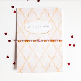 Moederdag armbandje met kaart ''love you mom'' pink & orange