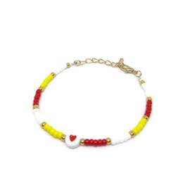 Armbandje met 3mm kralen  ''love oeteldonk'' rood-wit-geel