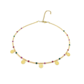 Bohemian beads coin necklace ''jade'' gold