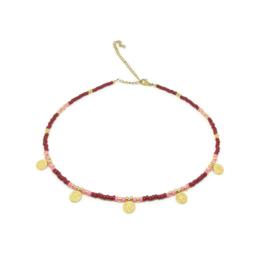 Happy bohemian necklace ''bordeaux & pink''