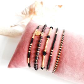 DIY-pakket armbandjes maken ''2mm miyuki'' black & gold