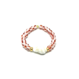 Bead ring ''shell'' red stripes