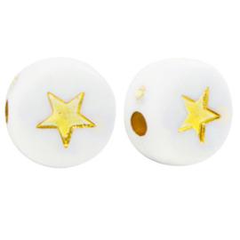 Acryl kralen ''star'' white & gold 10 stuks