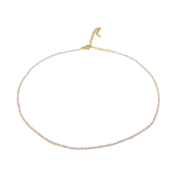 Ketting ''minimalistic'' stainless steel,  gold & lila