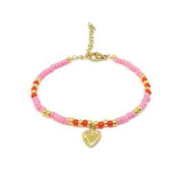 Armbandje ''valentine'' pink & red