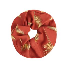 Scrunchie ''golden feather'' koraal