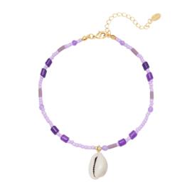 Enkelbandje ''happy beach'' purple