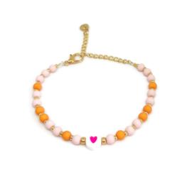 Little beads armbandje ''heart'' handmade pink & orange