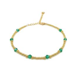 Kralen enkelbandje ''ocean green stones'' gold, handmade
