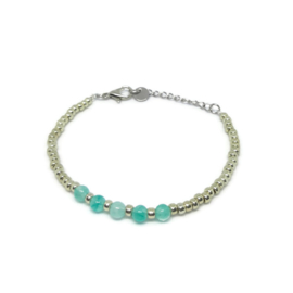 Littl beads armbandje ''silver & green amazonite'' handmade