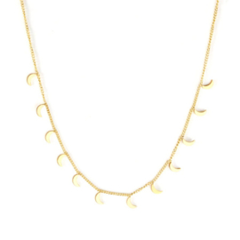 Ketting stainless steel ''tiny moons'' gold