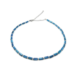 Ketting met schelpkralen ''evening blue''