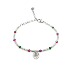 Little beads armbandje ''coins '& gemstones'' zilver