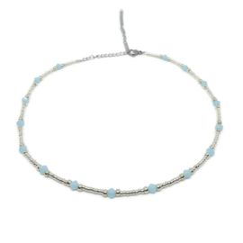Little beads ketting ''blue stones'' zilver, handmade