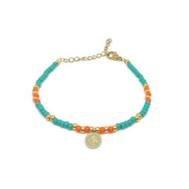 "Armbandje ""colorfull boho"" turkoois & orange"