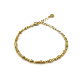 Little beads armbandje ''tiny dots'' gold, handmade