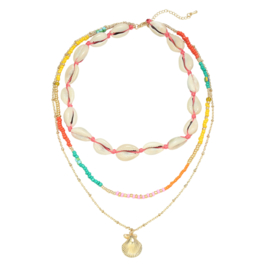 Kralen ketting ''summer beads'' schelpjes